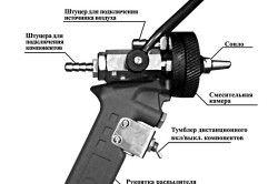 Схема пістолет-розпилювач пеногенератора ППУ