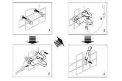 Схема установки змішувача у ванній кімнаті