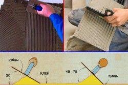 Схема нанесення клею на плитку