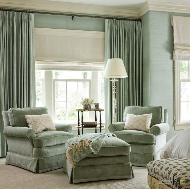Фото - Пишність природних відтінків в вишуканих шторах зеленого кольору