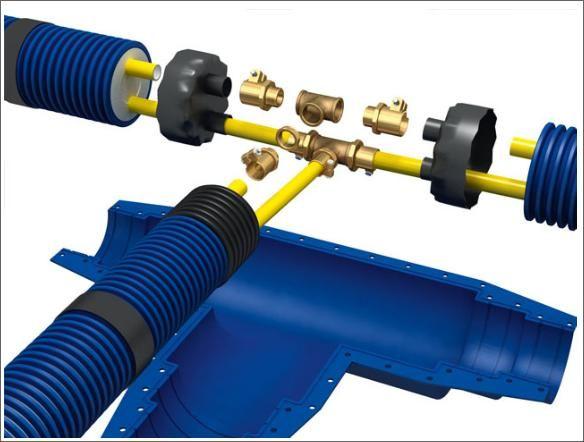 Попередньоізольовані гнучка система трубопроводів