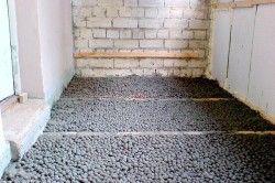 Утеплення підлоги з лагами керамзитом