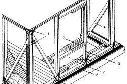 Оптимальна конструкція каркасної веранди: 1 - скоби фіксації елементів каркасу- 2 - нижня обвязка- 3 - стійка- 4 - подкос- 5 - верхня обвязка- 6 - формування віконного проема- 7 - стать.