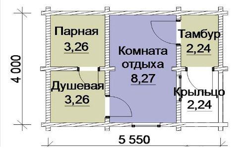 План одноповерхової лазні