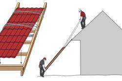 Схема підйому листів профнастилу на дах.