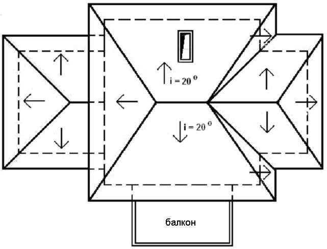 Приклад плану покрівлі приватного будинку