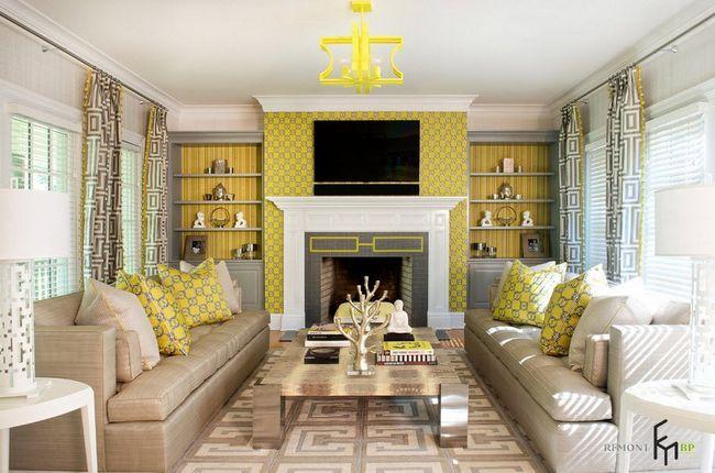 Жовті штори у жовтій вітальні