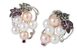 Золоті сережки з діамантами, рожевим і білим перлами