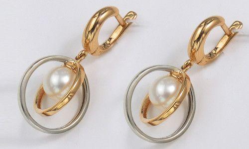 Золоті сережки-кільця з перлами