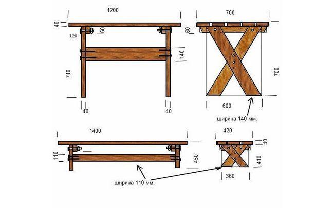 Схема садового столу