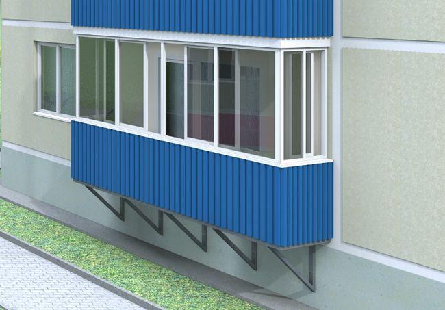Зовнішнє оздоблення балкона профнастилом