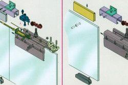 Схема кріплення скляних дверей