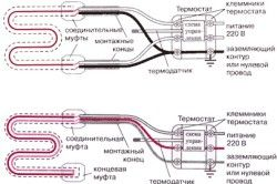 Схема підключення 1- та 2-жильного нагрівального кабелю