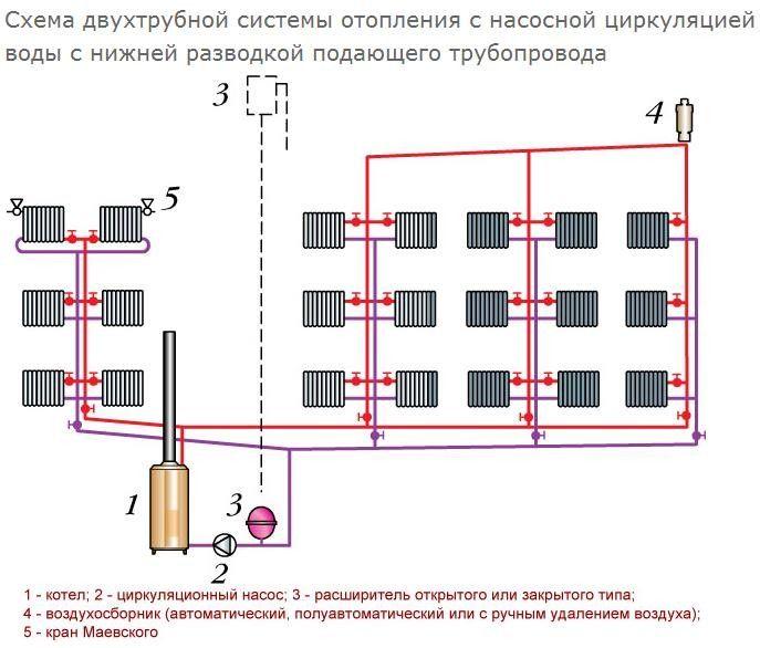 Схема двотрубної системи опалення з насосною циркуляцією води з нижнім розведенням трубопроводу, що подає
