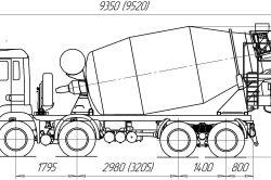 Схема КАМАЗа з міксером 10 м.куб