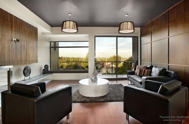 Фото - Сучасний дизайн стелі в вітальні