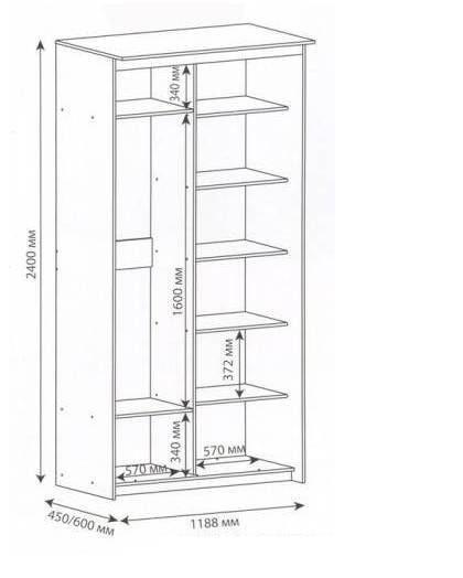 Креслення найпростішого шафи для балкона з точними розмірами