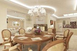 Дизайн вітальні-їдальні в класичному стилі