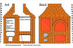 Схема монтажу печі-барбекю з цегли
