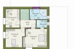 Схема будинку з піноблоків: план другого поверху (мансарда)