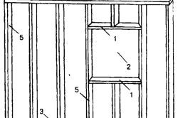 Схема пристрою віконного отвору для веранди: 1 - ригелі віконного проема- 2 - віконний проем- 3 - нижня обвязка- 4 - верхня обвязка- 5 - стійки.