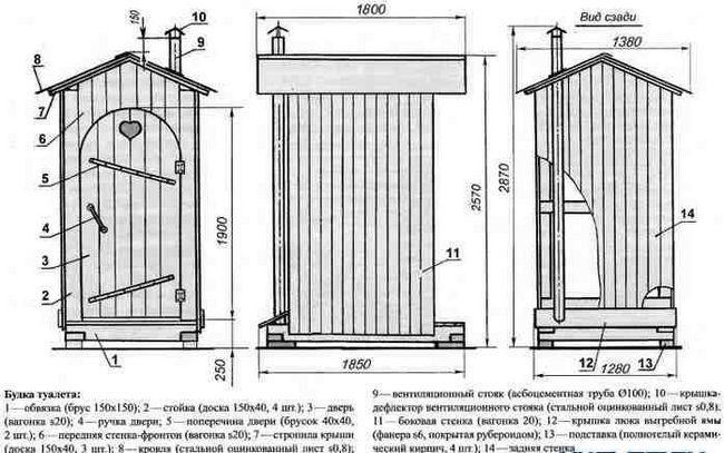 Схема деревяного туалету.