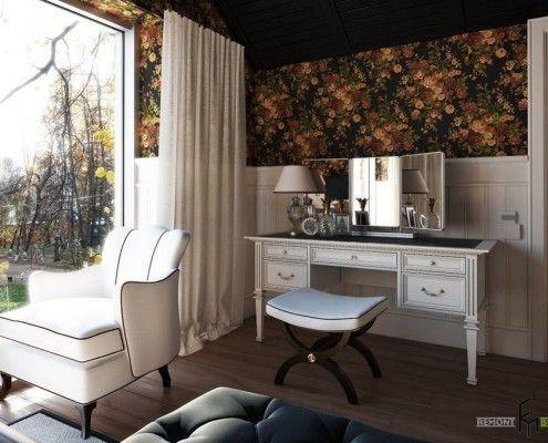 Туалетний столик біля панорманого вікна з білими шторами