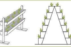 Приклади пристроїв для вертикальної культури суниці