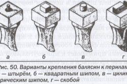 Варіанти кріплення балясин до поручнів