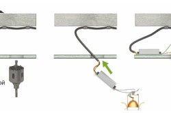 Схема прокладки проводки в підвісній стелі і монтажу точкового світильника