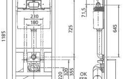 Монтажна рама для підвісного унітазу (інсталяція) з бачком подвійного потоку