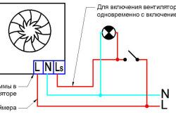 Схема підключення вентилятора у ванній