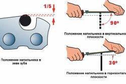 Положення напилка при заточуванні ланцюга бензопили