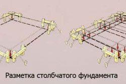 Схема размекі стовпчастого фундаменту.
