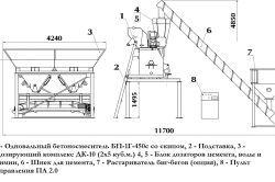 Схема установки для виробництва бетону із застосуванням шнека