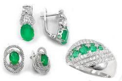 Прикраси з зеленим агатом в сріблі