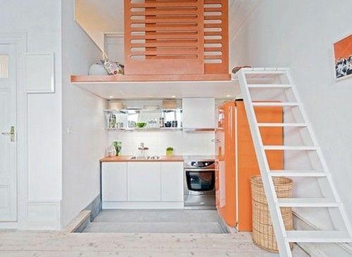 Дизайн маленької кухні в дворівневій квартирі фото