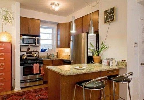 Дизайн маленької кухні обєднаної з вітальнею
