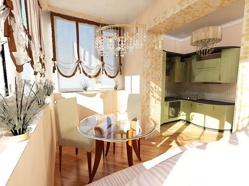Дизайн маленької кухні обєднаної з балконом