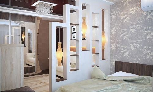 Фото - Варіанти дизайну спальні вітальні з перегородкою