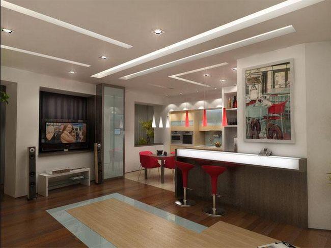 Фото - Варіанти оформлення дизайну стелі в кухні вітальні