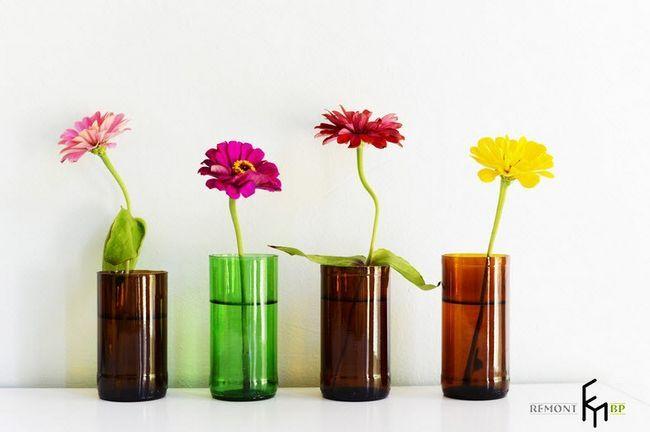 Фото - Ваза зі скляної пляшки своїми руками