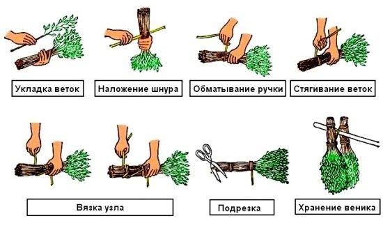 Схема вязки віника