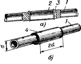 Схема зєднання хомутом сталевих труб