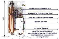 Схема проточного електричного водонагрівача