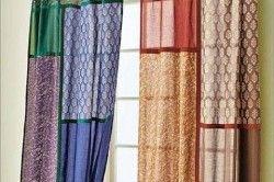 Креативні штори можуть вийти з зшитих шматків прямокутної форми і різних розмірів і щільності.