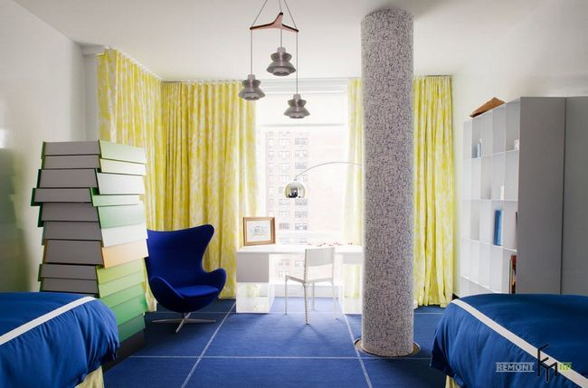Жовті штори в дизайнерської дитячої