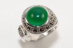 Срібний перстень з зеленим агатом