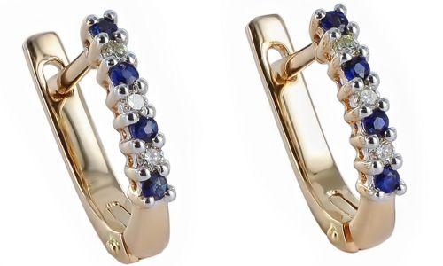 Фото - Золоті сережки з сапфіром і діамантами