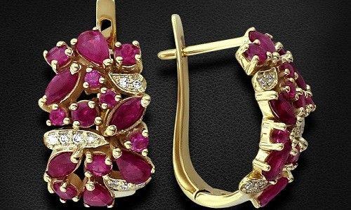 Фото - Золоті сережки: прикраси з рубіном